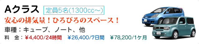 Aクラス 定員5名(1300cc~)